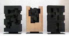 Alban Lanore sculpteur contemporain (sur bois) travail sur une recherche proche de l'abstraction géométrique.