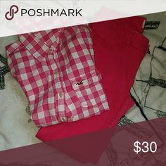 Hollister outfit set Shirt is white and pink plaid (size s) pants are plain pink. (Size w26) Pants Skinny