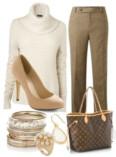 _White turtleneck sweater, nude pumps, brown trousers, and gold bangles for wrist.