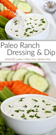 Paleo Ranch Dressing & Dip For all you ranch lovers! You'll never need to purchase pre-made ranch again. You'll never know it's dairy-free! Dairy Free Recipes, Paleo Recipes, Real Food Recipes, Cooking Recipes, Gluten Free, Dairy Free Veggie Dip, Paleo Meals, Dairy Free Salads, Dairy Free Snacks