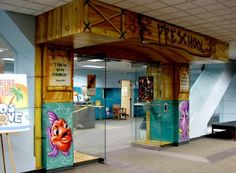 Worlds of Wow - the Preschool entrance has a cool underwater theme at First Baptist Church in Dallas, TX. Worlds Of Wow, Kids Church, Church Ideas, Long Hall, Underwater Theme, Youth Center, Family Theme, Church Crafts, Indoor Playground