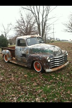 Chev Chevy Chevrolet Advanced Design pickup truck patina ratrod rat rod jalopy daily driver orange ralley wheels wide white wall tires.