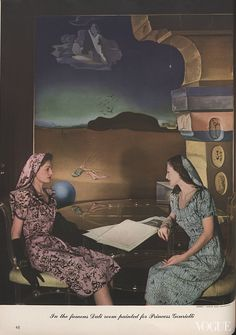 """""""In the famous Dalí room painted for Princess Gourielli [Helena Rubinstein].""""    Photographed by Horst P. Horst, Vogue, March 1, 1943"""