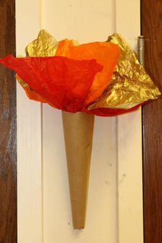 Renaissance Themed Scouts Blue & Gold Banquet/ Party/ Decoration ideas torches made from butcher and tissue paper