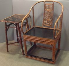 antique chinese  bamboo  furniture | Pair of Chinese Bamboo Chairs & English Bamboo Table - Antiques of ...