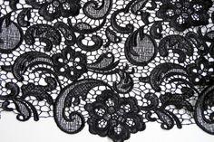 Black Lace Fabric crocheted lace fabric retro lace от LaceFun
