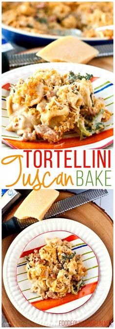 The classic flavors of Zuppa Toscana made it into a family-friendly Creamy Tuscan Tortellini Bake recipe. #CrystalFarmsCheese #ad @crystalfarms