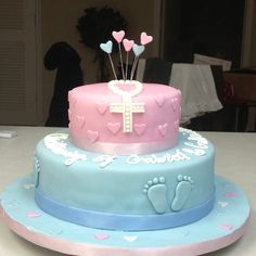 Christening cake for boy n girl  If you need a cake in the West Palm/Miami area email me at cookiescakes423@gmail.com