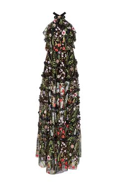 Black Glory Floral Embroidered Gown by ALEXIS for Preorder on Moda Operandi