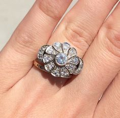 Fun 14kt gold and diamond flower ring, circa 1945.