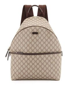 GG Supreme Canvas Backpack, Beige by Gucci at Neiman Marcus.
