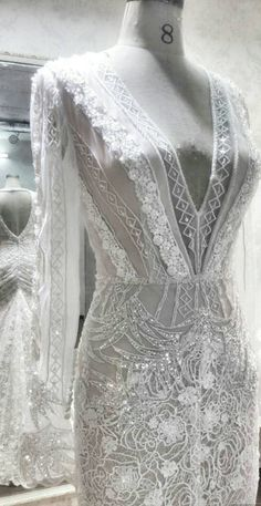 tribal lace open back hand embellished wedding dress unique wedding dress beaded wedding dress designer open back sleeves fitted dress