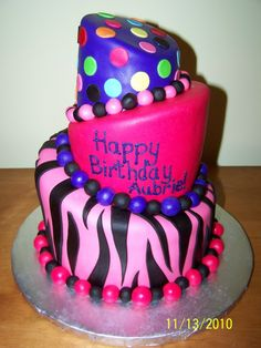 Purple Zebra Print Party Supplies   Cakes by Kristen H.: Pink, Purple and Zebra print Topsy Turvy