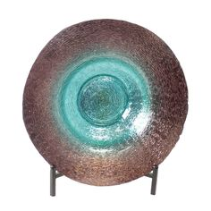 Casa Cortes Handcrafted Turquoise Centerpiece Charger Plate and Stand