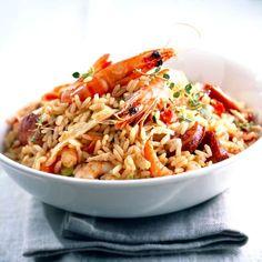 Découvrez la recette Risotto de crevettes et chorizo sur cuisineactuelle.fr.