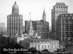 1906 - NEWSPAPER ROW - City Hall stands in front of Newspaper Row - the former publishing headquarters of The World (left), The Tribune (center) and The Times (right) in downtown Manhattan.  Behind The New York Times building is the American Tract Society, a publisher of religious books.