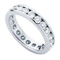 womens diamond white gold wedding ring infinity channel - Wedding Ring Sets For Bride And Groom