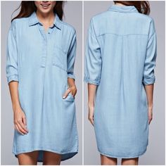 Country Girl 3/4  Sleeve tinsel shirt dress. Relaxed fit mid length 3/4 sleeve shirt dress with hidden buttons and single pocket detail Fabric 100% Tencel Dresses