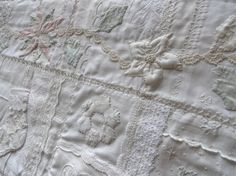 detail of my vintage linen and lace quilt