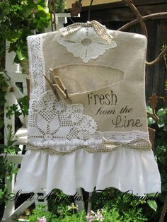 idee om te maken Fresh From the Line.. Shabby Farmhouse Clothespin Bag~❥
