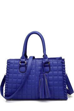 LOVE THE COLOR Checked Tassels Solid Color Tote Bag