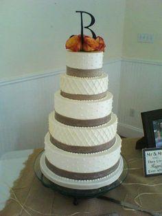 Burlap Ribbon Wedding Cake