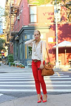 red denim, animal print belt, red-pink shoes