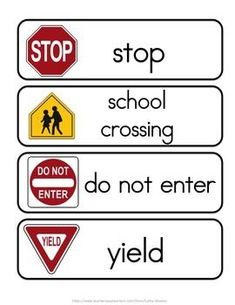 Updated and Revised! Traffic Signs and Street Signs - Signs are All Around Us Road Safety Poster, Teaching Safety, Creative Curriculum Preschool, Senior Ads, Transportation Unit, Self Contained Classroom, Learning Tower, This Is A Book, Worksheets For Kids