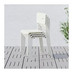 IKEA - VÄDDÖ, Chair, outdoor, green, , The chair is durable and easy to care for since it is made of powder-coated steel and plastic.You can have several chairs on hand without taking up more space since they are stackable.The chair will look fresher and last longer, as the plastic is both fade resistant and UV stabilized to prevent cracking and drying out.Easy to keep clean – just wipe with a damp cloth.