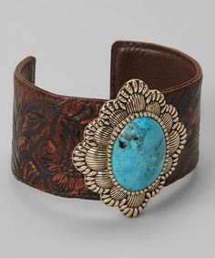 Take a look at this Turquoise & Leather Cuff by Barse on #zulily today!