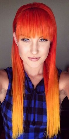 Orange to yellow fire sunset ombre dip dyed hair