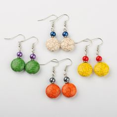 PandaHall Jewelry—Random Color Dyed Synthetic Turquoise Bead Earrings with Glass Pearl Beads and Brass Earrings Hooks