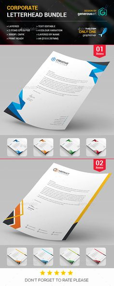 #Letterhead Bundle 2 in 1 - Stationery Print Templates.Download here: http://graphicriver.net/item/letterhead-bundle-2-in-1/16589272?ref=arroganttype