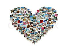 Stock image of 'Travel passion - heart shaped collage made of world photos'