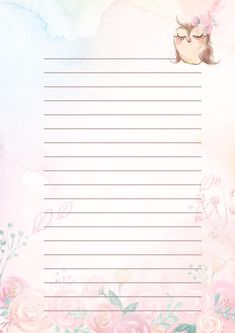 Printable Lined Paper, Free Printable Stationery, Student Planner Printable, Notebook Paper, Stationery Paper, Writing Paper, Note Paper, Planner Pages, Journal Cards