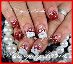 Pinned by www.SimpleNailArtTips.com CHRISTMAS NAIL ART DESIGN IDEAS - ONE STROKE snow over read