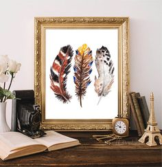 ❣ Please check our announcements tab for coupon codes! ❣  3 Colored Boho Feathers Printable  ❥ No physical item will be shipped to you. You are Nursery Prints, Wall Art Prints, Framed Prints, Watercolor Feather, Watercolor Print, Feather Wall Art, Types Of Printer, Coupon Codes, Feathers