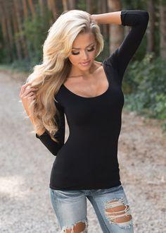3|4 Sleeve Black Seamless Top,  Modern Vintage Boutique, Shopmvb, Women's Boutique, Online  Shopping, Fashion, Style