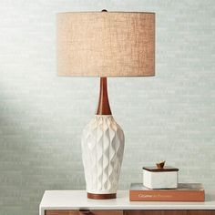 Rocco Mid Century Modern Table Lamp White Geometric Ceramic Wood Tan Fabric Drum Shade for Living Room Family Bedroom - 360 Lighting Cheap Table Lamps, Table Lamp Wood, White Table Lamp, Ceramic Table Lamps, Desk Lamp, Midcentury Table Lamps, White Lamps, Diy Lamps, Living Room Scandinavian