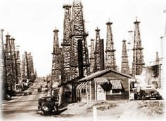 The Signal Hill oilfield at Atlantic and 28th streets, circa 1930 was an urban forest of drilling rigs -- and a testament to the historic importance of oil in California.  Photo courtesy of the Long Beach Public Library CollectionSignal Hill