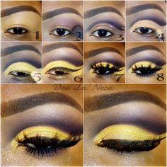 Purple and yellow cut crease step by step makeup tutorial by Dee La'Nese #makeuptutorial #stepbystep #mua #maquiagem #evatornadoblog #awesome Фиолетово-желтый макияж - урок