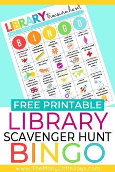 Library scavenger hunt for kids Part 2: BINGO version - The Many Little Joys