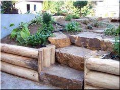 Entrindete Akazienstämme für den Bau von Böschungen - Another! Backyard Walkway, Gardening, Garden Plants, Firewood, Fence, Concrete, Pergola, Crafts, Home Decor