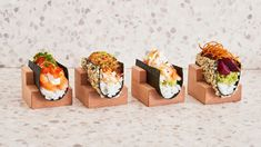Nami Nori, a new Japanese restaurant in NYC's West Village, has officially blown us away with their impressive food and design innovation. Restaurants In Nyc, Restaurants That Deliver, Waffle Cones, Candied Pecans, Ice Cream Flavors, West Village, Tacos, Rolls, Food Design