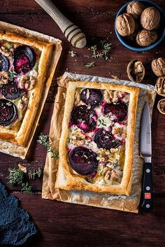 Goat's cheese and beetroot puff pastry tart