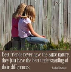 Best friends never have the same nature, they just have the best understanding of their differences.  ~ Author Unknown