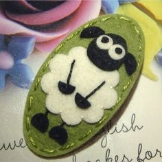 Fluffy Sheep wool felt hair clip -sage green
