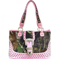 This Mossy Oak® licensed studded buckle handbag features: - Studs galore with three rows of studs along the bottom, on the buckle and along the strap handles. - Rhinestone encrusted buckle on high def