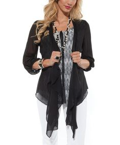 Take a look at this Black Sheer Three-Quarter Sleeve Open Cardigan by Lily on #zulily today! $27 !!
