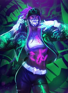 Und jetzt ist hier die Neonversion meines KDA Akali :) And now here's the neon version of my KDA Akali :) And now here's the neon version of my KDA Akali :) Mieko_Kpop - Pop Star Akali Lol, League Of Legends Charaktere, Bel Art, Art Anime, Image Manga, Cyberpunk Art, Kawaii, Kpop, Game Character
